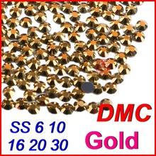 Top High Grade SS6 10 16 20 30 Gold Shine DMC Hot fix Rhinestones Beads Jewelry Iron on Women Wedding Clothes Dress DIY motifs(China (Mainland))