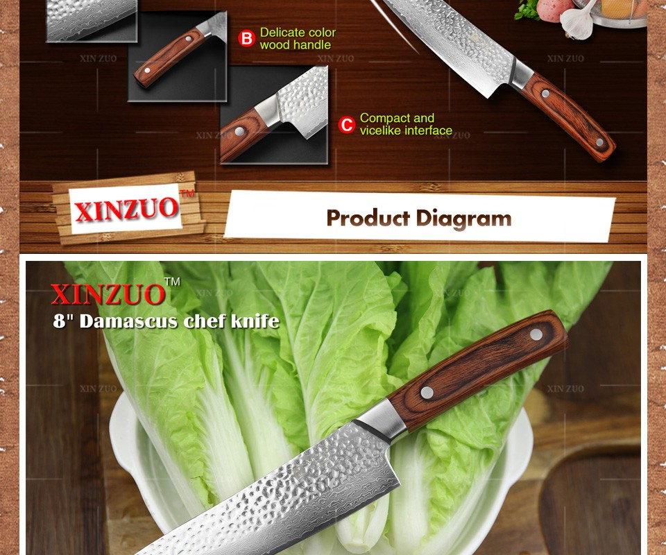 "Buy XINZUO HOT 8 "" chef knife very sharp Damascus steel kitchen knife 67 layers Japanese senior meat/vegetable knife free shipping cheap"