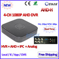 4Channel DVR 1080P Hybrid AHDVR 4ch for AHD H M 960H D1 camera P2P IP recorder