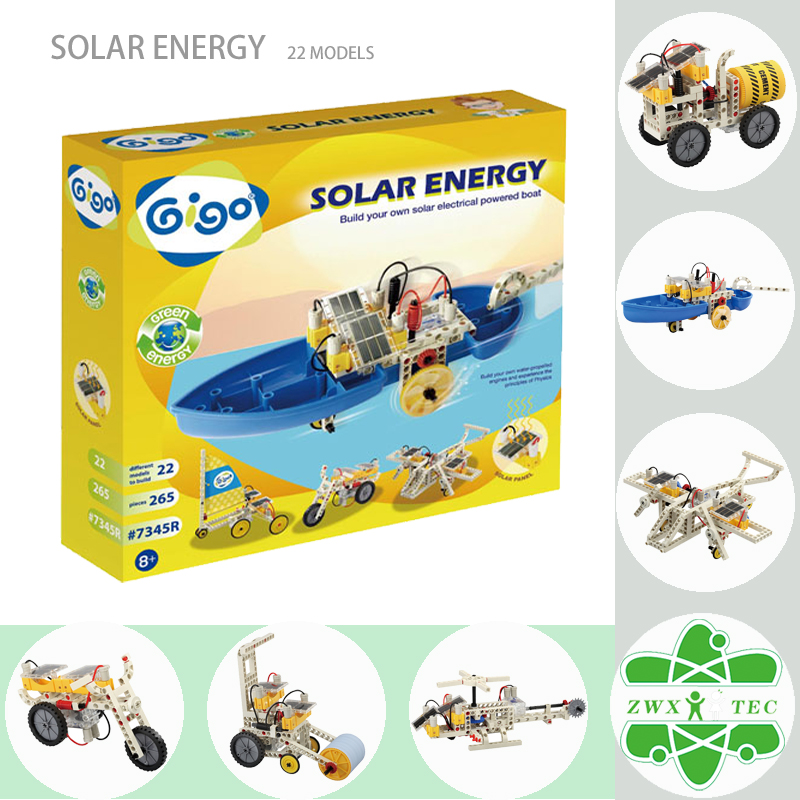 Gigo Solar Energy Experiments 265PCS 22 Vehicles powered by two solar panels which include Solar Motor/Boat/Electrombile #7345R(China (Mainland))