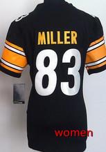 2016 Women Pittsburgh Steelers #84 Antonio Brown #7 Ben Roethlisberger #25 Bruns Elite embroideried black white #26 LeVeon Bell(China (Mainland))