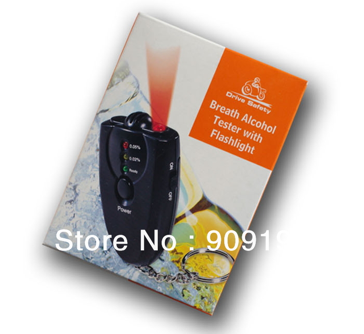 100PC/lot--LCD Alcohol Breath Tester Breathalyzer Analyzer Detector Test Keychain,freeshipping, dropshipping(China (Mainland))