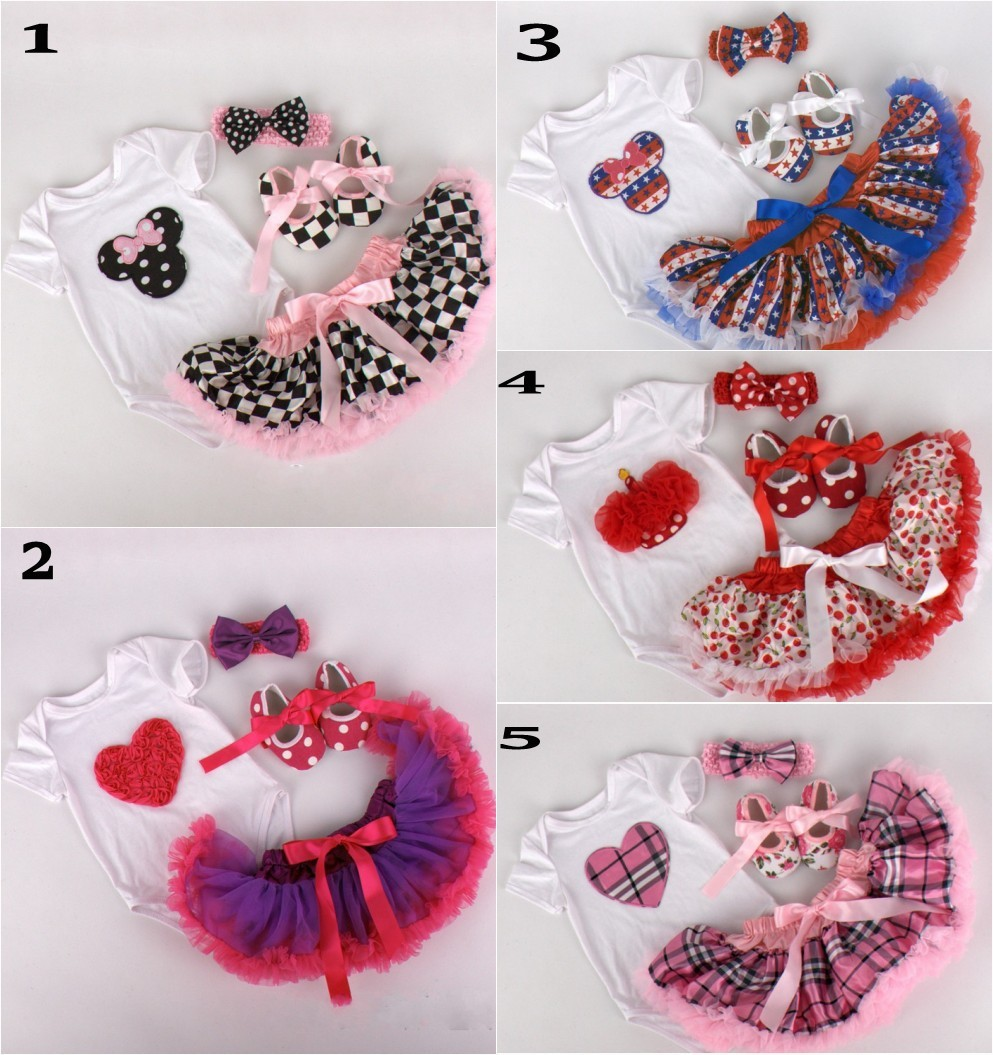 EMS DHL free shipping Baby Girls Cute Romper Headband Shoes 4PC Set Minnie Birthday Wear Infant Wear Baby Suit Children Clothes<br><br>Aliexpress
