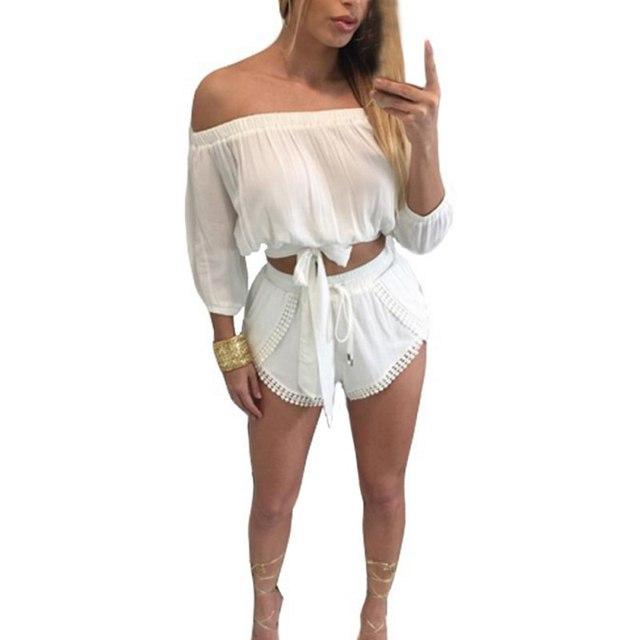 2016 гавайи летний стиль белое кружево Playsuit женщин сексуальная слэш-образным вырезом сверхразмерные сексуальная комбинезон Bodycon Большой размер ползунки