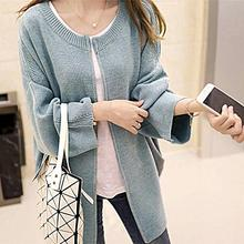 New Autumn And Winter Long Loose Rabbit Fur Women Cardigans Knitted Sweater Drop shoulder Coat with Zipper of 2 Colors(China (Mainland))