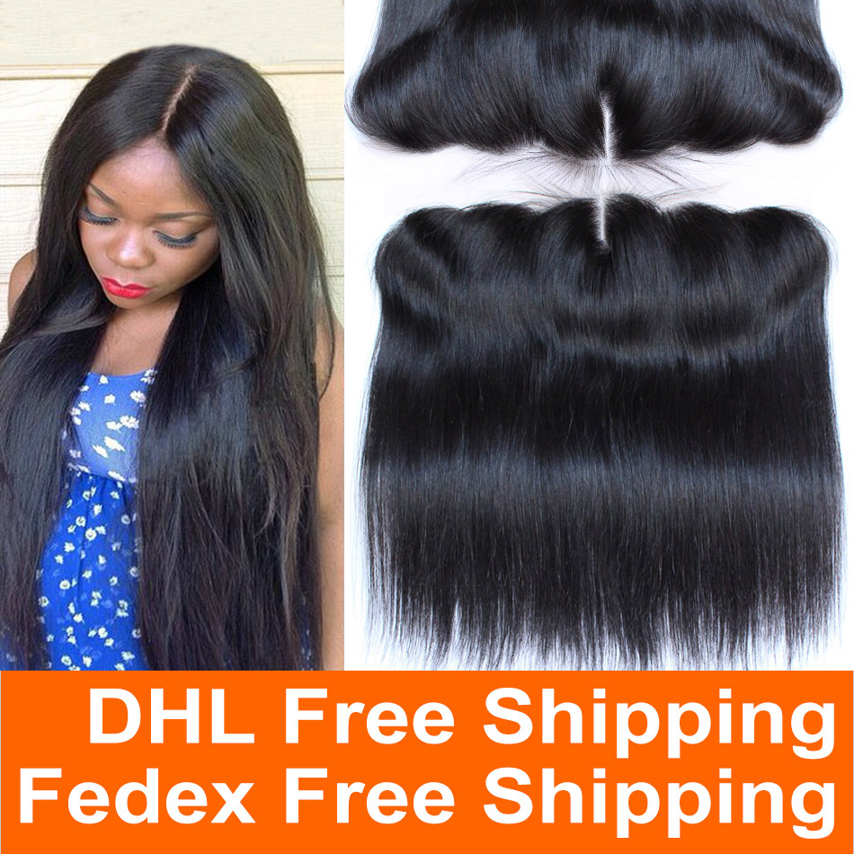 13x4 Brazilian Full Lace Frontal Straight Closure 7A Brazilian Virgin Human Hair Ear To Ear Lace Closure Bleached Knot Free ship