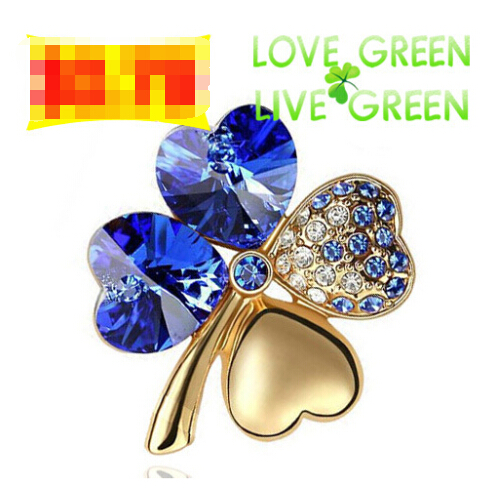 free shipping biggest discount promotion 18K gold plated Austrian Crystal four leaf clover Brooch 19 colors fashion jewelry 9554(China (Mainland))