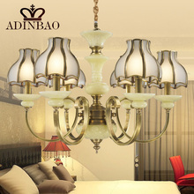 2015 New Modern American style Copper Glass Chandelier 8043-6A(China (Mainland))