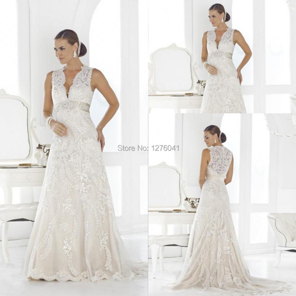 Plus size wedding dress v neck sleeveless lace a line long for A line plus size wedding dresses