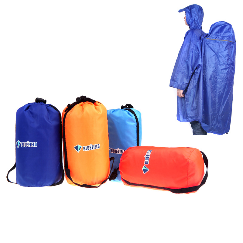 NEW BlueField Backpack Cover One-piece Raincoat Poncho Rain Cape Outdoor Hiking Camping Unisex 4 Colors(China (Mainland))