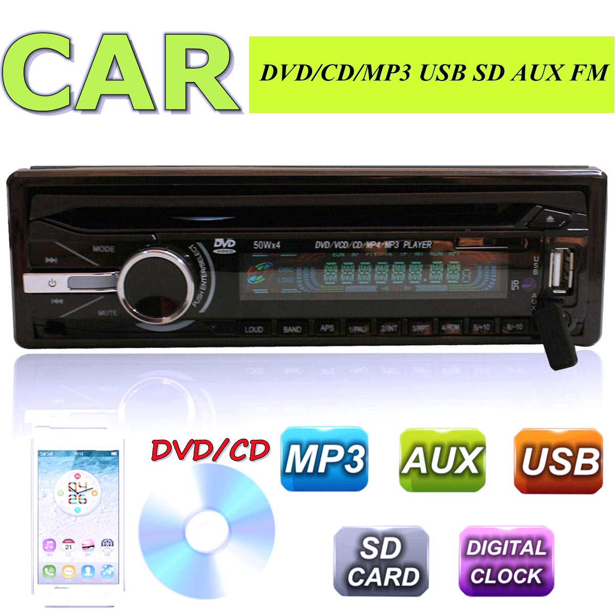 2015 New In Dash Car Stereo Audio MP3/CD/DVD Player FM Radio AUX SD/USB For Iphone for Ipod(China (Mainland))
