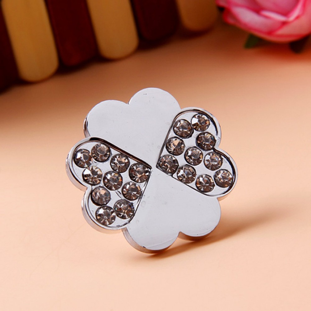 Silver Crystal Glass Kitchen Cabinet Pulls Kids Dresser Knob Drawer Pull Handles Furniture Decorative Knobs Rhinestone