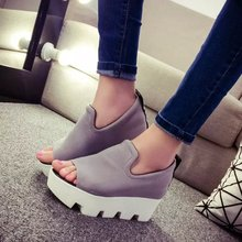 2015 New Arrival Women Sandals Peep Toe Shallow Women Summer Fashion Shoes Platforms Canvas Ladies Pure Color Shoes 32(China (Mainland))