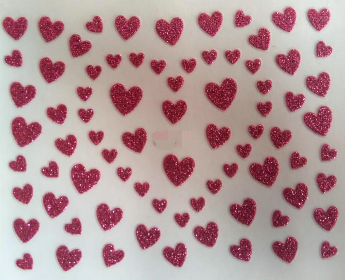 1sheet hot sales heart shaped nail sticker Glitter love nail tool decoration Gold silver(China (Mainland))