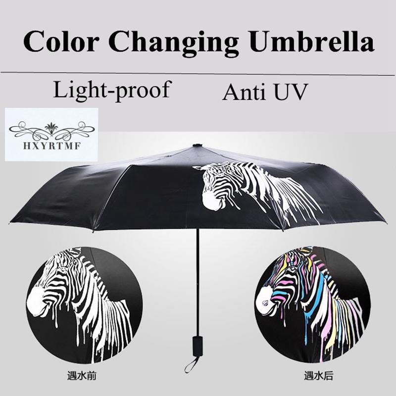 Unique Water Change Color Zebras Vinyl Coating Umbrella 3 Folding Anti-UV Sun/Rain Parasol Non-automatic Manual Black Umbrellas(China (Mainland))