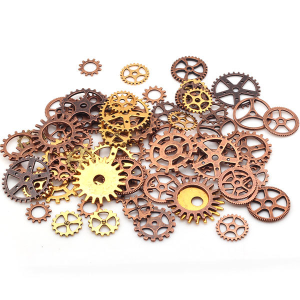Steampunk Gears Mixed packing Zinc Alloy Gear Charms Vintage Jewelry Mixed Charms 100pcs 8318(China (Mainland))