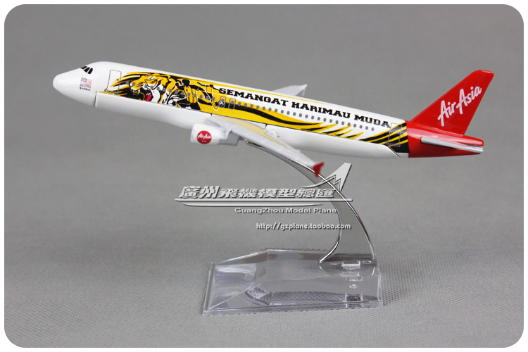 16cm Asia Air SEMANGAT HARIMAU MUDA TIGER Airlines Plane Model Airbus A320 Alloy Airplane Model Gift Collections Free Shipping(China (Mainland))