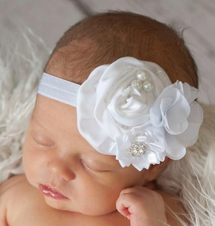 Hot Sell Girls Kids Baby Big Bow Hair bands Headband Pearl Rose Flower Headband Children Hair Accessories SF162(China (Mainland))
