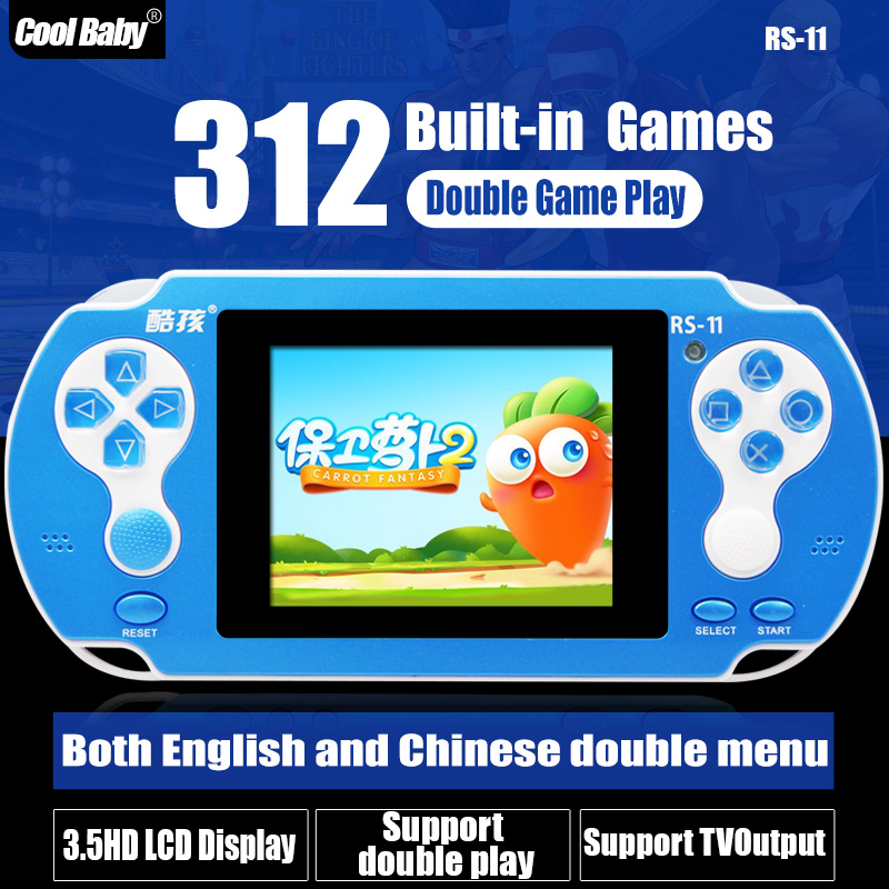 Game Consoles CoolBaby RS-11 Built 280 Games +32 IN 1 8BIT Children's Handheld Game Consoles Support External handles Wholesale(China (Mainland))