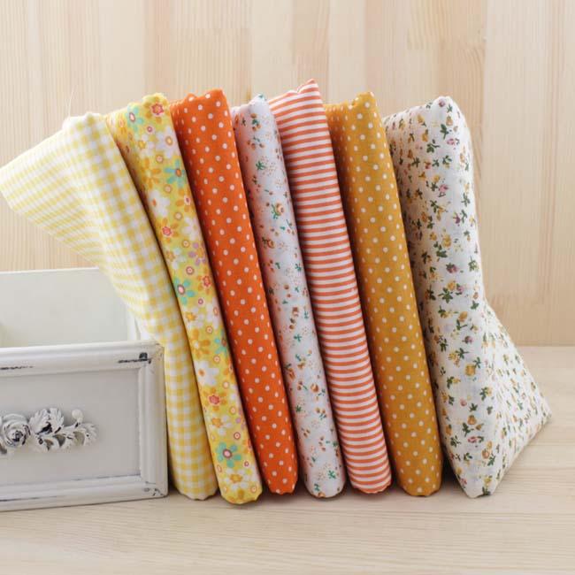 7 pcs jaune fat quarter faisceau 100% tissu de coton telas patchwork tilda shabby chic tissu quilting 50 cm x 50 cm(China (Mainland))