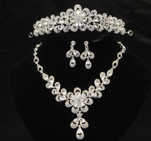 1set/lot Free Shipping Set Necklace Earrings Tiara bridal Hair jewelry Accessories Wedding jewelry for woman 2015 Hot sale!(China (Mainland))