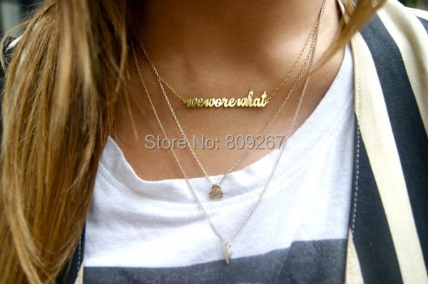 FREE Shipping Gold Plated Over Silver Custom Gold Initial Necklace(China (Mainland))