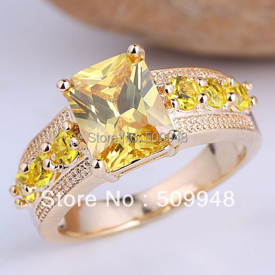 6 Pieces Yellow Gold Radiant Cut Yellow Citrine Stone Women Cocktail Ring Size 8 GF J7517(China (Mainland))