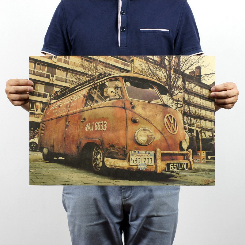 Wall Decals Vinilos Stickers Vintage Signs Vw Bus Retro Painting Car Plate Bar Antique Wall Decoration Posters 51x35.5cm(China (Mainland))