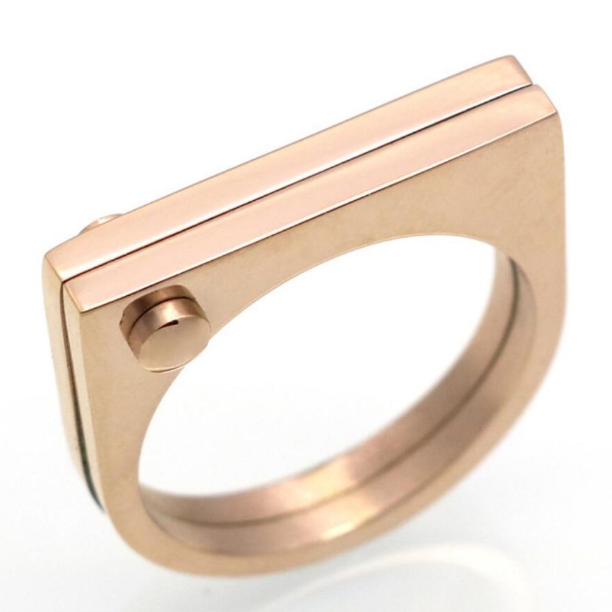6a114b9514f Fashion Flat Shackle Tag Ring punk Screw Finger Ring Rose Gold Color Rings  For Women Titanium Steel Ring Jewelry Wholesale