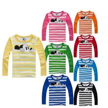 Autumn Winter 100% Cotton Kids T Shirt Cartoon Mouse Long Sleeve Baby Boys Girls T-Shirt Children Pullovers Tee Boys Clothes(China (Mainland))