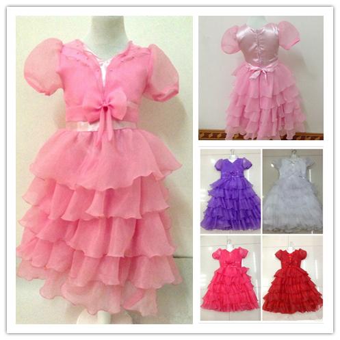 High quality 5 Color Kids Girl Princess Layered Dress Toddler Party Dresses Age 4-Age 9 Fancy Layered Tutu Wedding Dress(China (Mainland))