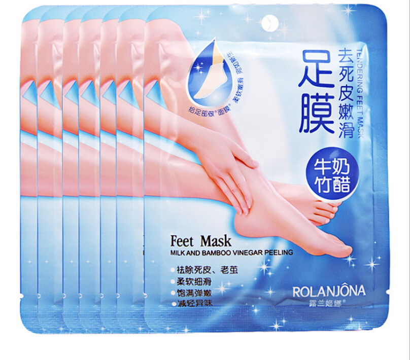 10PCS=5PAIR ROLANJONA FOOT MASK Bamboo Vinegar Feet Mask Milk Membrane Foot care Chamfer Whitening and Moisturizing Exfoliating(China (Mainland))