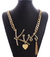 """2015 Newest Fashion Summer Jewelry Alloy Link Chain """"Kiss"""" Letter Pendant With Heart Decoration Necklace For Lover(China (Mainland))"""