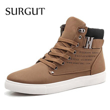 SURGUT Men Shoes 2016 Top Fashion New Winter Front Lace-Up Casual Ankle Boots Autumn Shoes Men Wedge Fur Warm Leather Footwear(China (Mainland))