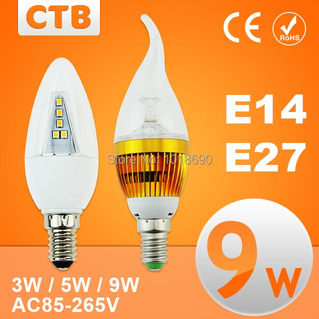 Good Quality 3w 5w 9w led candle light , e14 e27 led bulb lamp tubes Warm White / Cool White led 110v 220v candle free shipping(China (Mainland))