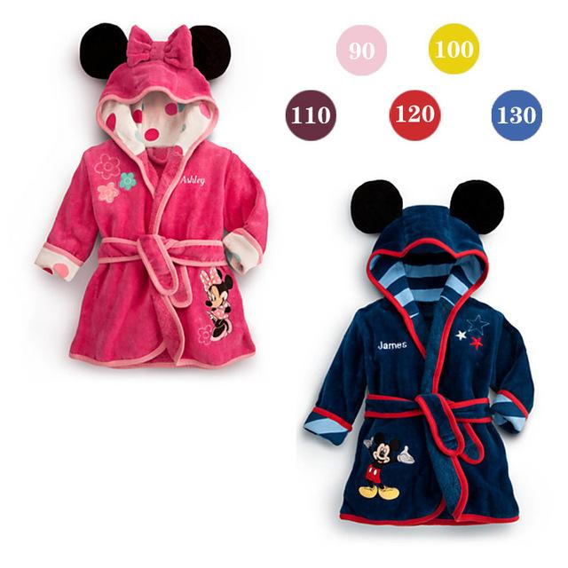 1 шт. девочки дети мальчик ночь банный халат пижамы домашняя одежда пижамы одежда минни с рукавами костюм платье минни одежда