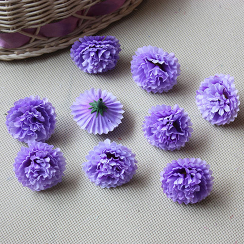 80pcs Artificial Flowers Carnation Heads For Wedding Decoration Silk Flowers Heads Purple Blue Color(China (Mainland))