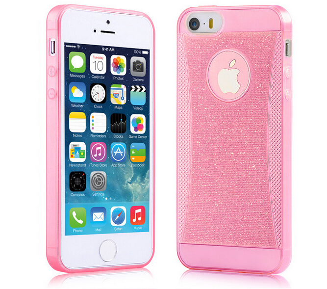 High quality Shining Glitter Tpu Case for iPhone 5 5G 5s cases Mobile Phone Bright Pink for iPhone Back Cover Shell Case(China (Mainland))