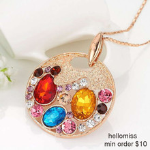X391 Free shipping, 18K Gold Plated Rhinestone Necklace Pendant, Hellomiss Fashion Statement Necklace For Women 2013(China (Mainland))
