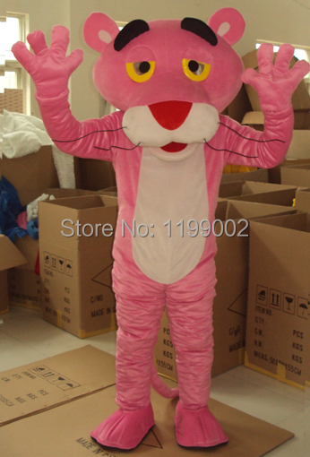 Free Shipping New Pink Panther Mascot Costumes Fancy Dress Suit Halloween Cartoon Cosyplay Adult Size+Cardboard head(China (Mainland))