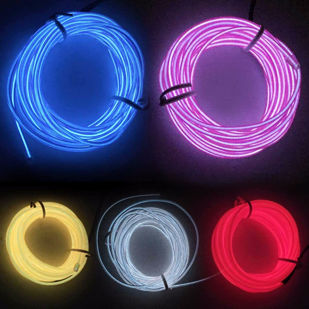 NEW 10 Color 1/2/3/5M Colorful Flexible EL Wire LED Tube Rope Neon Light Glow Controller Car Dance Party Decor For 2xAA battery(China (Mainland))