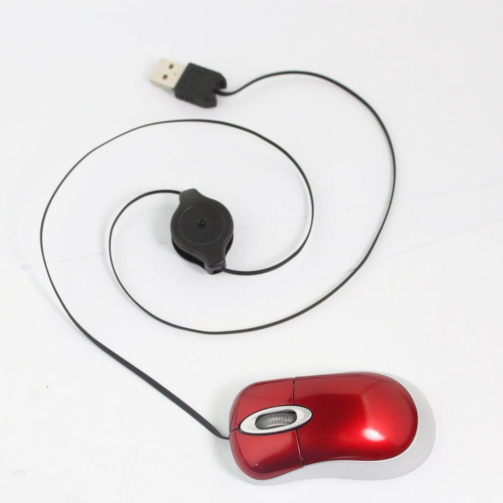 New Hot Sale Comfortable Red Mini Retractable USB Optical Scroll Wheel Mouse US Fast Shipping(China (Mainland))