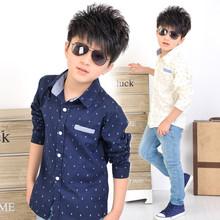 2015 Fashion Children's Clothing Spring/Autumn Children Cotton Shirts Boys Polka Dot Long Sleeve Shirts Kids Clothes Top Shirts