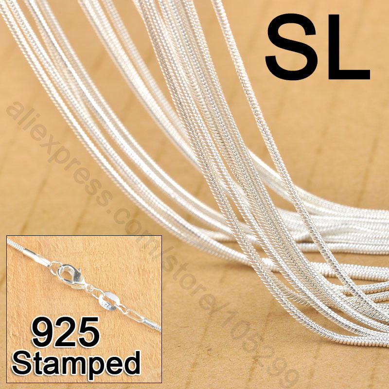 """Collar Factory Price Free Shipping 20pcs 18"""" 925 Sterling Jewelry Link Snake Necklace Chains With Lobster Clasps For Pendant(China (Mainland))"""