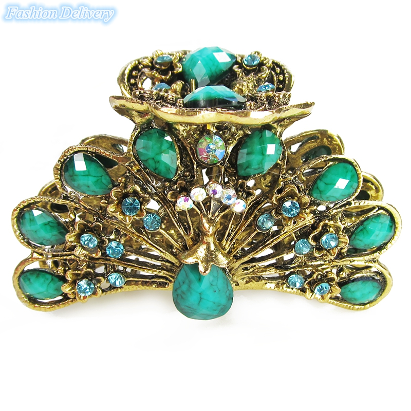 1x Green Retro Jewelry Hair Crystal Claw Headdress Hairpin Barrettes Accessories Hair Claw Clip Peacock Wedding Accessories(China (Mainland))