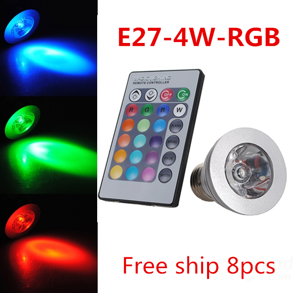 AC85-265V 16 Colors changing RGB LED Lamp 4W GU10 RGB LED Bulb Lamp Spotlight with Remote Control free shipping<br><br>Aliexpress