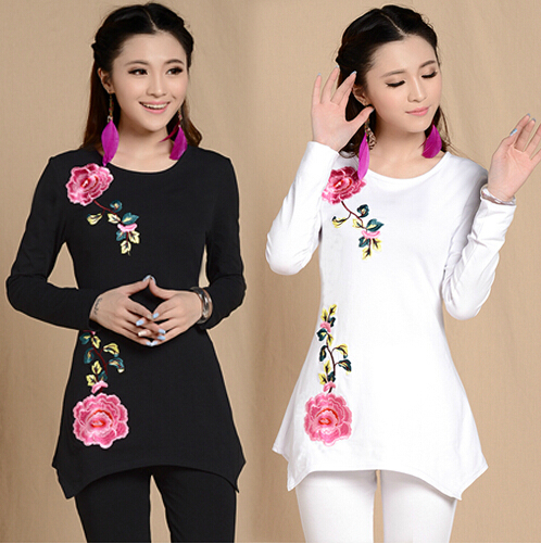 M-XXXL Peony Irregular Embroidered Chinese Winding Clothes For Women Spring Autumn Cotton Basic Causal Solid T Shirt S1108(China (Mainland))