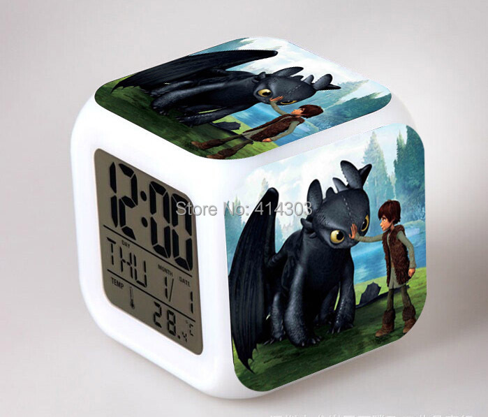 Retail & Wholesale LED 7 colors change digital alarm clock how to train your dragon thermometer night colorful glowing kids toys(China (Mainland))