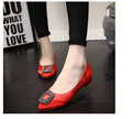 Fashion Pointed Toe Women Flat Square Rhinestone Decoration 1cm High Heels Women Pumps Beautiful Wedding Shoes
