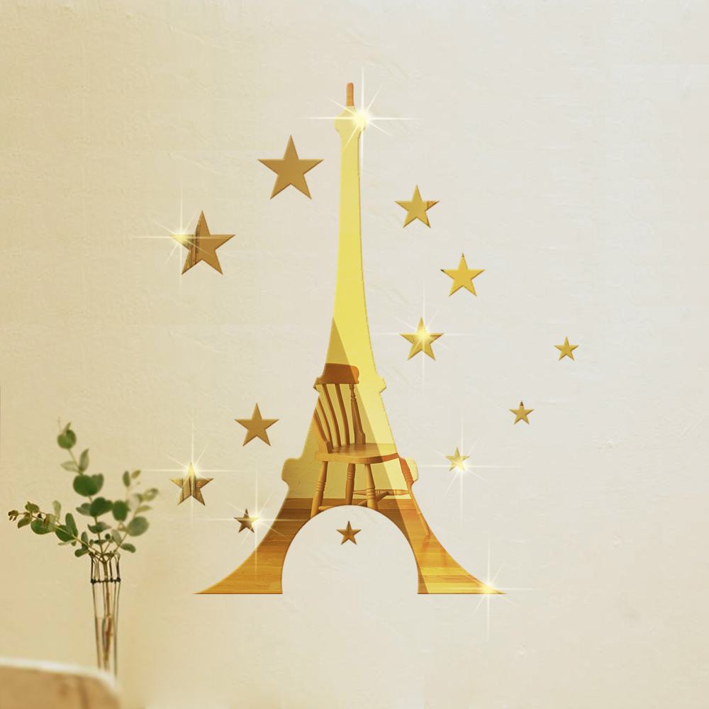 Funlife diy eiffel tower with stars mirror wall sticker for Eiffel tower decorations for the home